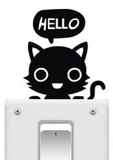 Наклейка на вимикач Hello Cat