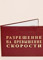 Разрешение на ПРЕВЫШЕНИЕ СКОРОСТИ (6,5х9,5см рус.яз)