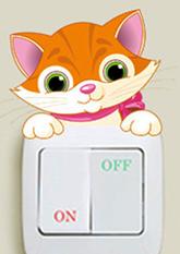 Наклейка на вимикач Звірята (Котик)