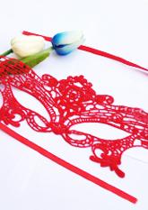 Маска ажурна червона №2 (маски для вечірок)