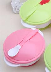 Комплект дитячого посуду (тарілка + ложка + кришка)